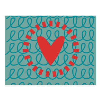 Fun Whimsical Doodle Heart and Swirls Postcard