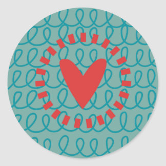 Fun Whimsical Doodle Heart and Swirls Round Sticker
