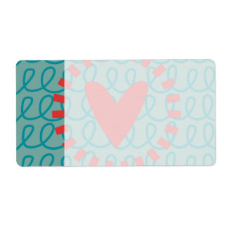 Fun Whimsical Doodle Heart and Swirls Shipping Label