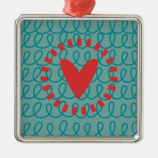 Fun Whimsical Doodle Heart and Swirls Silver-Colored Square Decoration