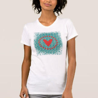 Fun Whimsical Doodle Heart and Swirls Tee Shirt