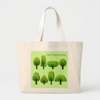 Fun Whimsical Row of Trees with Earth Day Everyday Jumbo Tote Bag