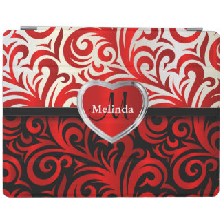 Fun White, Black & Red Swirl Floral Pattern iPad Cover