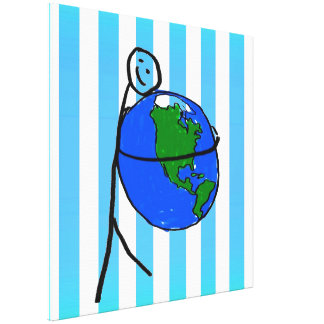 Fun white light blue stripes love earth drawing canvas prints