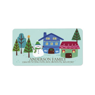 Fun Winter Village Snowman Christmas Address Label