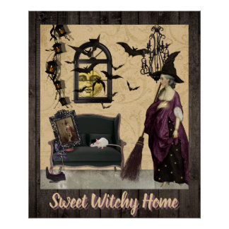 Fun WItch Home With Bats and Mice Poster