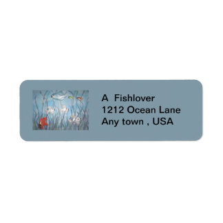 fun with chalkware fish return address label