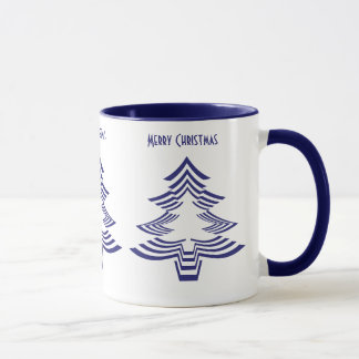 Fun with Picture Fonts - Navy Blue Christmas Tree Mug