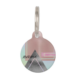 Fun with shapes,metallic,gold,rose gold,silver,ult pet name tag
