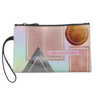 Fun with shapes,metallic,gold,rose gold,silver,ult suede wristlet