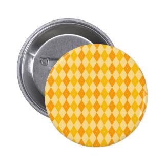 Fun Yellow and Orange Argyle Diamond Tile Pattern Button