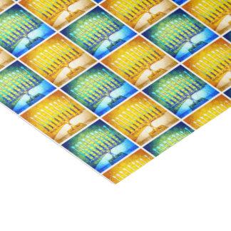 Fun Yellow & Blue Hanukkah Menorahs Pattern Photo Tissue Paper