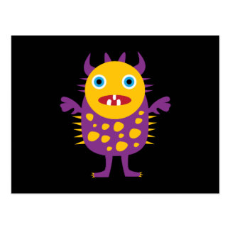 Fun Yellow Purple Monster Creature Gifts for Kids Postcard