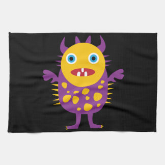 Fun Yellow Purple Monster Creature Gifts for Kids Kitchen Towel
