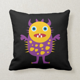 Fun Yellow Purple Monster Creature Gifts for Kids Throw Cushions