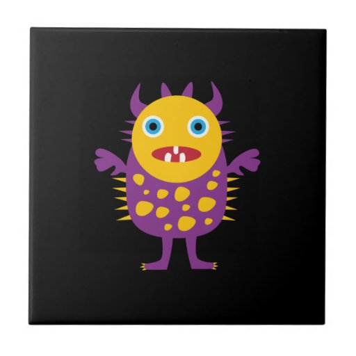 Fun Yellow Purple Monster Creature Gifts for Kids Tiles