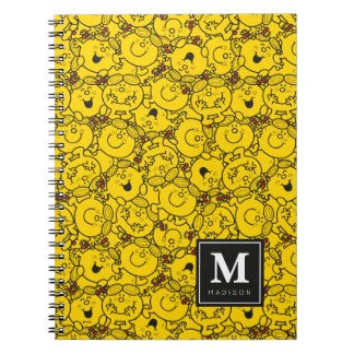 Fun Yellow Smiles Pattern | Add Your Name Spiral Notebook