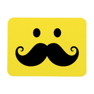 Fun yellow smiley face with handlebar mustache rectangular photo magnet