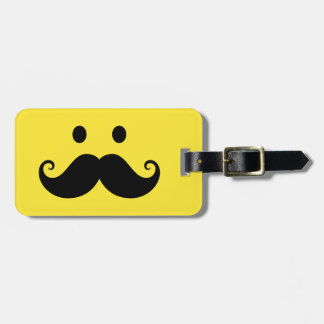 Fun yellow smiley face with handlebar mustache tags for luggage