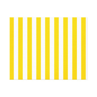 Fun Yellow Stripes Pattern Stretched Canvas Print