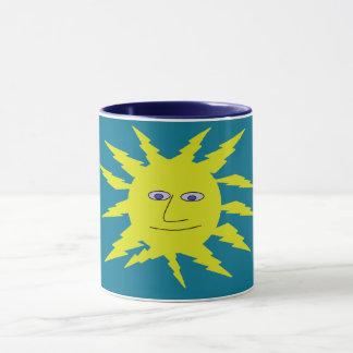 Fun Yellow Sun Face Print on Blue Mug