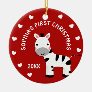 Fun Zebra Hearts Baby's 1st First Christmas Gift Ceramic Ornament