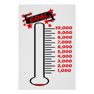 Fundraising Goal Thermometer 10K Goal Poster