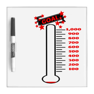 Fundraising Goal Thermometer 1K Goal Dry Erase White Board