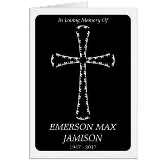 funeral announcement : elegant cross note card