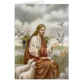 Funeral Holy Card | Jesus with Doves