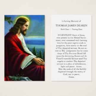 Funeral Prayer Card   Jesus Christ Praying