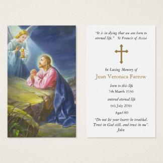 Funeral Prayer Card   Jesus Christ Praying 1