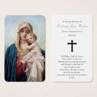 Funeral Prayer Card | Mother Mary & Baby Jesus