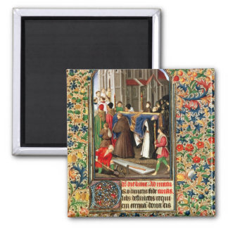 Funeral procession with grave-diggers fridge magnet