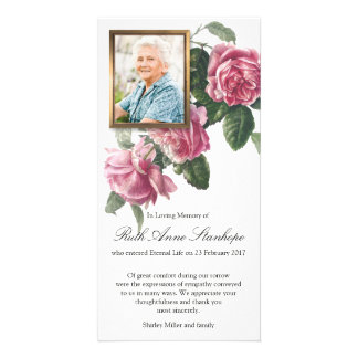 Funeral Sympathy Tea Rose & Photo Thank You Card