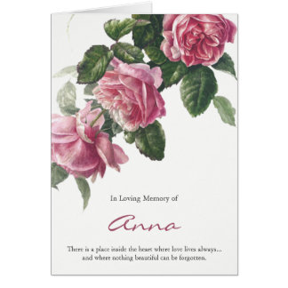 Funeral Thank You Card Antique Tea Rose