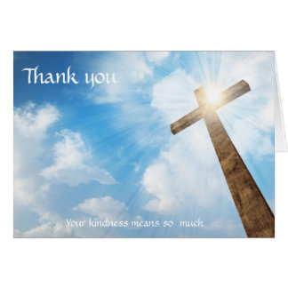Funeral -Thank You from Family Christian Cross Card