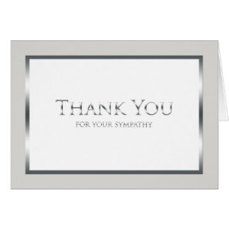Funeral Thank You Note Card -- Classic Silver