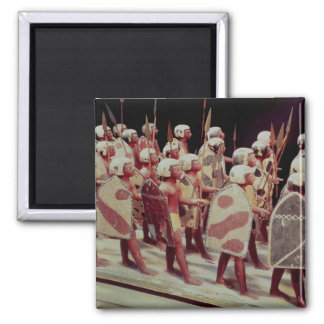 Funerary model of marching armed soldiers square magnet