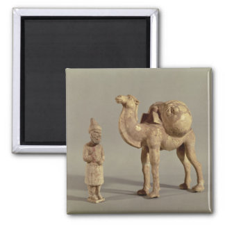 Funerary statuettes of a laden camel square magnet