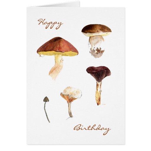 Fungi in Watercolour Greeting Cards Card