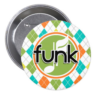 Funk Music; Colorful Argyle Pattern Pinback Buttons