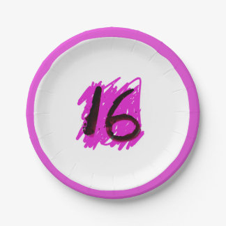 Funky 16 birthday paper plate