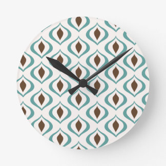Funky 1970's Geometric Pattern in Brown and Green Round Clock