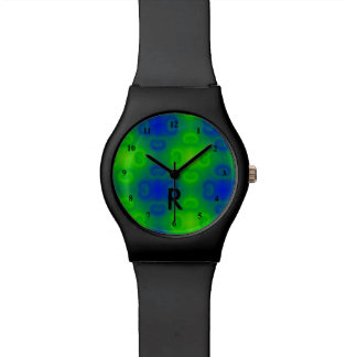 Funky 70s Abstract Neon | Monogrammed Blue Green Watch