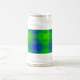 Funky 70s Abstract Pattern Neon Blue Green Blur Beer Steins