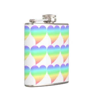Funky 70s Retro Pastel Rainbow Hearts Pattern Hip Flask