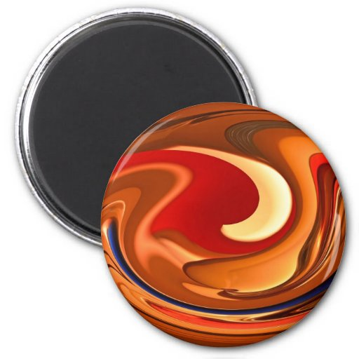 Funky Abstract Burnt Orange and Red Design Fridge Magnets