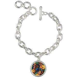 Funky Abstract Charm Bracelet Wearable Art