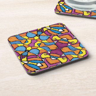 Funky Abstract Colorful Pattern Coaster